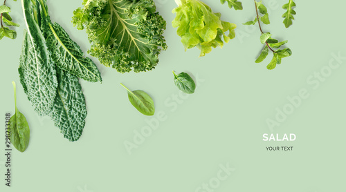 Spoed Fotobehang Eten Creative layout made of kale, salad leaves, spinach, ruccola on green background. Flat lay. Food concept. Macro concept.