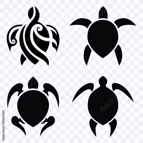 Obraz na plátně tattoo turtle polynesian, tribal ink design polynesian style, set vector isolate