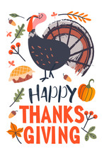 Happy Thanksgiving. Greeting Card, Holiday Banner. Vector Illustration.