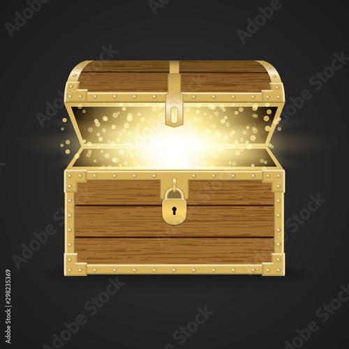 Obraz na plátně Opened realistic wooden chest