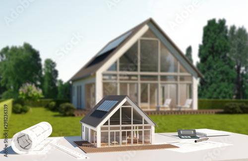 Foto Modernes Haus mit Bokeh Effekt