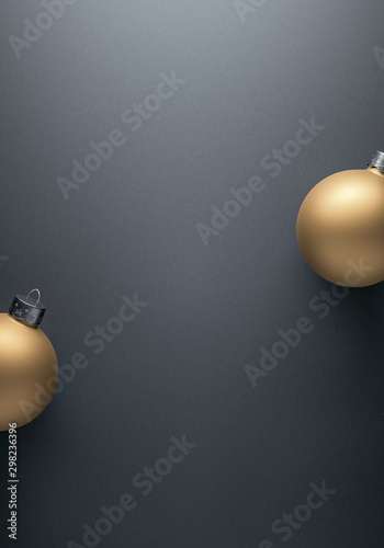 Carta da parati  Matte gold Christmas baubles on grey background for modern winter holiday card b