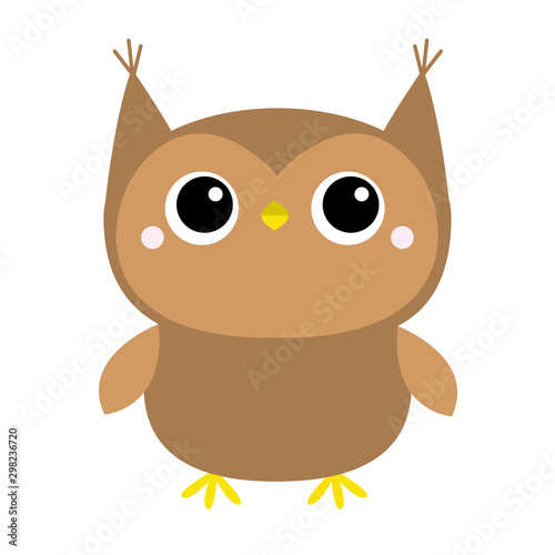 Cute owl toy icon. Big eyes. Cute cartoon kawaii funny baby character. White background. Isolated. Flat design.