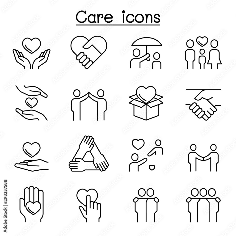 Fototapeta Care, Kindness, Generous icon set in thin line style