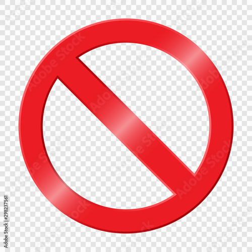 Prohibiting sign. Icon with red crossed circle Wallpaper Mural