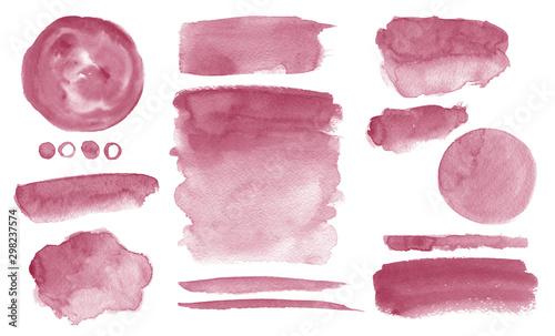 Fototapety, obrazy: Burgundy watercolor stains Set of brush strokes Dark red Invitation design