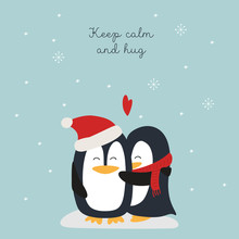 Christmas Card With Penguins Hugs