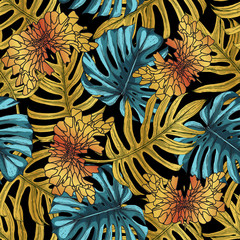 Obraz na Szkle Liście Blue-green and gold tropical leaves and butterflies