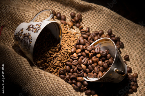 Canvas Prints Cafe The instant coffee and coffee beans on burlap or sackcloth background