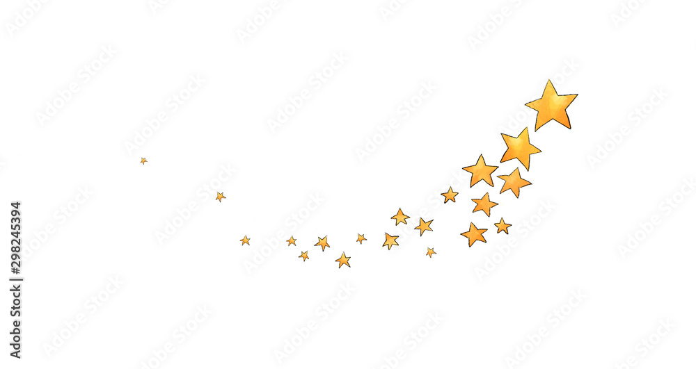 Fototapety, obrazy: Collection of stars style sketch cartoon watercolor.