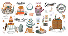 Scandinavian Interior With Home Decorations - Wreath, Cat, Plaid, Gift, Candles, Table. Cozy Winter Holiday Season. Cute Illustration And Christmas Typography In Hygge Style. Vector. Isolated.