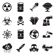 Biohazard And Nuclear Icons. Black Flat Design. Vector Illustration.