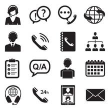 Call Center Icons. Set 2. Black Flat Design. Vector Illustration.