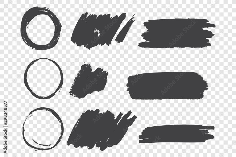 Fototapety, obrazy: Black paint scribble hand drawn doodles set