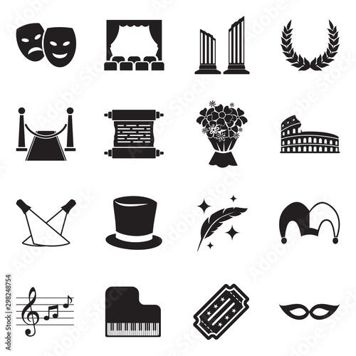 Theater Icons. Black Flat Design. Vector Illustration. Tablou Canvas