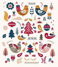 Decorative Illustration With Christmas Tree And Birds