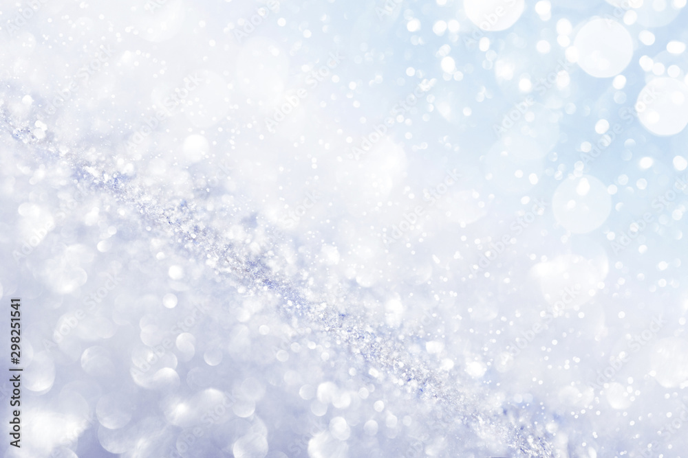 Fototapety, obrazy: Chritmas light background with snow and blue sky.