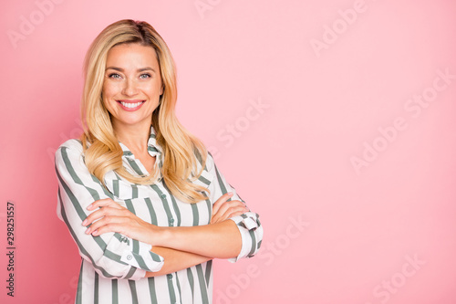Photo of white cheerful cute charming pretty business lady with arms crossed sho Canvas Print