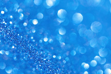 Abstract Blue Bokeh Lights, Defocused. Christmas Background