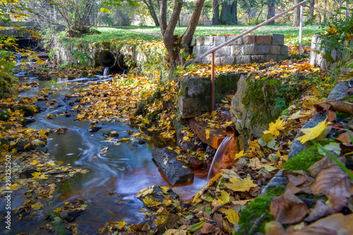 Canvas Prints Forest river Mineral water spring issues from piping into brook – colored autumn in the spa park of Marianske Lazne (Marienbad) - Czech Republic