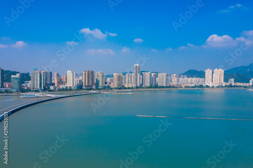 Canvas Prints Abu Dhabi Waterfront view of CoupleS Road, Zhuhai City, Guangdong Province, China