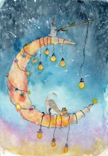 Watercolor Children Postcard With Cat And Rabbit Sitting On The Moon With Lamps