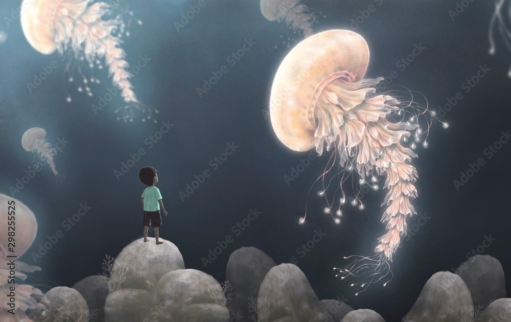 Little boy looking at giant jellyfishes , fantasy artwork