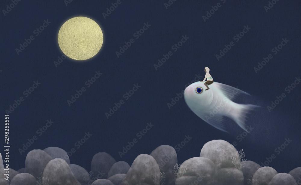 Fototapeta Boy riding cute giant fish to the moon ,fantasy painting, surreal illustration, imagination concept, hope