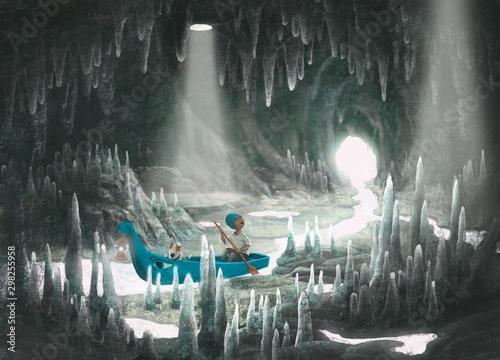 scena-przygodowa-chlopiec-i-jego-pies-na-lodzi-w-jaskini-morskiej-malarstwo-fantasy-surrealistyczna-ilustracja-wyobraznia