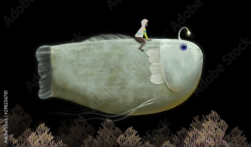 Obraz Fantasy of little boy riding cute Giant fish in night sky, painting illustration, imagination and freedom concept - fototapety do salonu