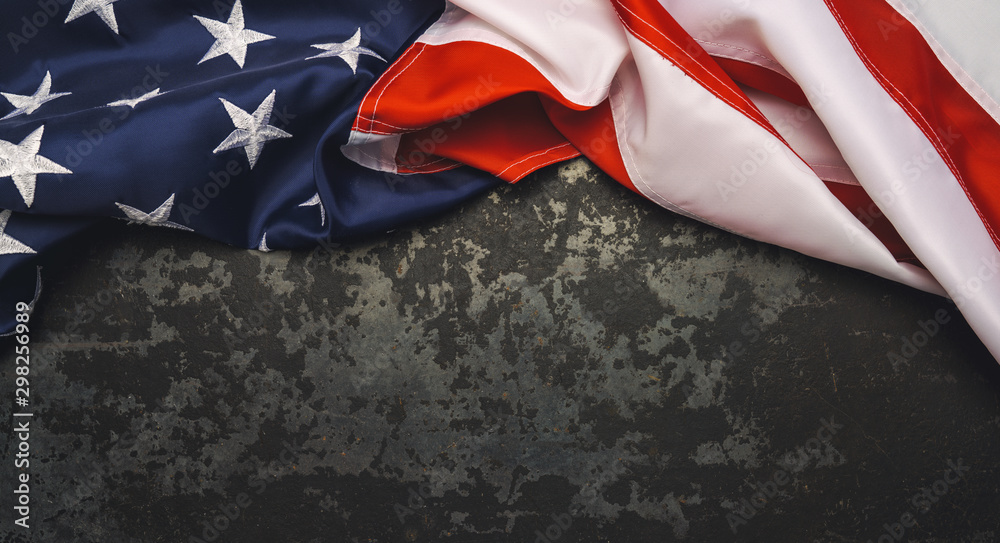 Fototapety, obrazy: United States Flag On Black Background. copyspace for your individual text.