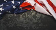 United States Flag On Black Ba...