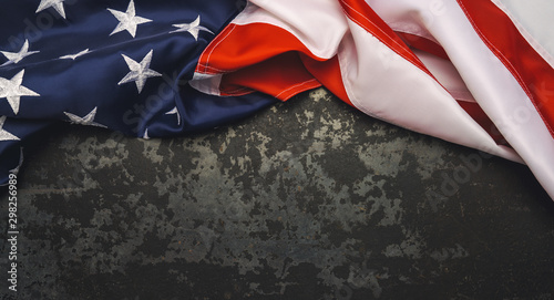 United States Flag On Black Background. copyspace for your individual text.