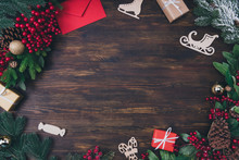 Top Above High Angle View Photo Of Christmas Creative Object Composition Have Blank Empty Space For Noel Greeting Congratulations Lay On Brown Wooden Table