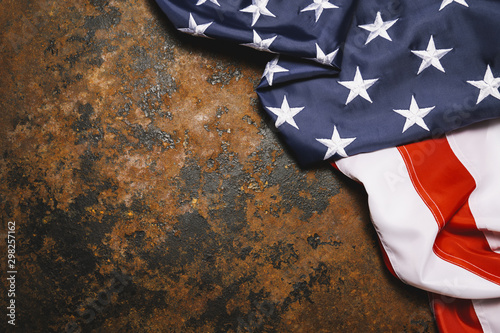 Poster Pierre, Sable American flag on dark rusty metal with free space. 4th July Veterans or US Independence day.