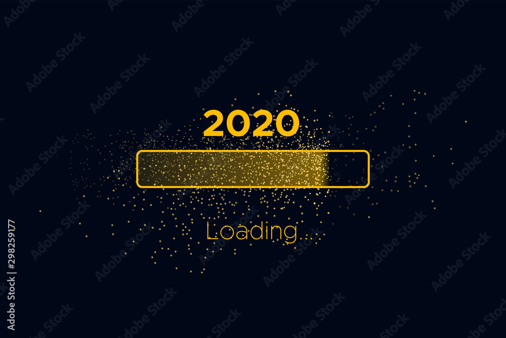 Fototapeta Progress bar with golden particles on black Download New Year's Eve. Loading animation screen with Glitter confetti shows almost reaching 2020. Creative festive banner with shiny progress bar.