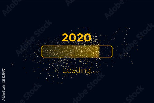 Fototapeta Progress bar with golden particles on black Download New Year's Eve. Loading animation screen with Glitter confetti shows almost reaching 2020. Creative festive banner with shiny progress bar. obraz