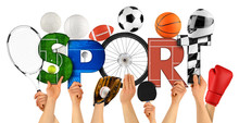 Athlete People Holding Up Colorful Letter With Word Sport Decorated With Sports Goods Cycling Wheel Ball Motorsport Helmet Swimming Pool Isolated White Background. Training Competition Concept.