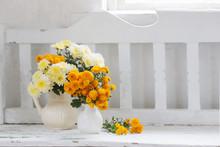 Yellow Chrysanthemums In Jug O...
