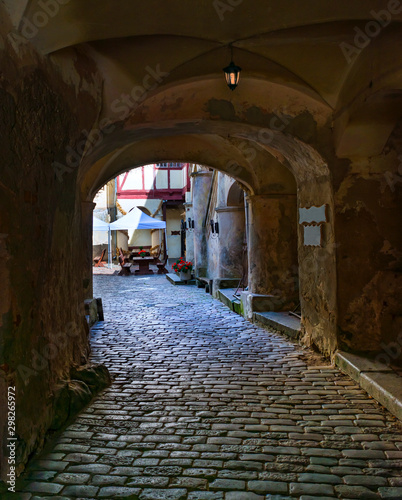 Ancient narrow street  in old medieval town  © sergei_fish13