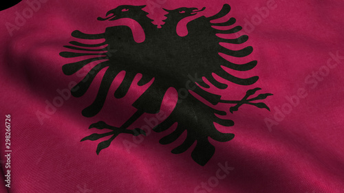 Albania flag with visible wrinkles and realistic fabric. Wallpaper Mural