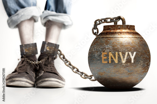 Canvas Print Envy can be a big weight and a burden with negative influence - Envy role and im