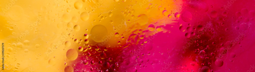 Fototapety, obrazy: Soft focus abstract background with circles and balls. Bright yellow, red, pink colors. Horizontal banner