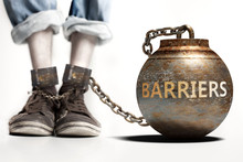 Barriers Can Be A Big Weight And A Burden With Negative Influence - Barriers Role And Impact Symbolized By A Heavy Prisoner's Weight Attached To A Person, 3d Illustration