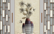 3d Illustration, Floor Vases With Abstract Flowers In The Interior