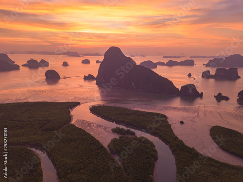 Foto auf Gartenposter Koralle Aerial top view of Samet Nangshe, mountain valley hills, and tropical green forest trees at sunset with Andaman sea in Phang Nga Bay in summer, Thailand in travel trip. Natural landscape background.