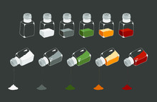 Vector Set Of Different Spices. Transparent Bottles With Different Filler Isolated On A Gray Background. Salt, Black Pepper, Red Pepper, Curry, Herbs,