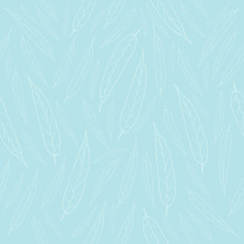 Pattern Willow Leaves Line Sketch Light On A Pale Blue Background