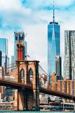 Fototapeta Nowy Jork - Suspension Brooklyn Bridge across Lower Manhattan and Brooklyn. New York, USA.