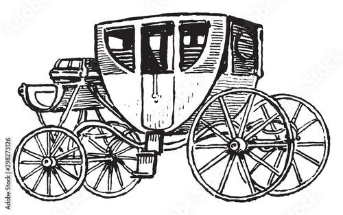 Valokuvatapetti Stagecoach, vintage illustration.
